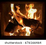 fire place with burning wood.... | Shutterstock . vector #676166464