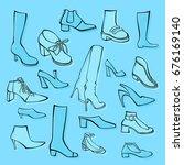set of vector women's shoes | Shutterstock .eps vector #676169140
