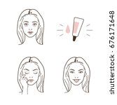 Woman have dark circles eyes problem.  Vector isolated illustrations set.