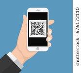 human hand holding smart phone... | Shutterstock .eps vector #676172110