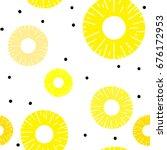 pineapple sliced seamless... | Shutterstock .eps vector #676172953