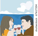 lovers in the terrace | Shutterstock .eps vector #67617334