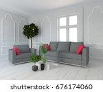 white room interior. 3d... | Shutterstock . vector #676174060