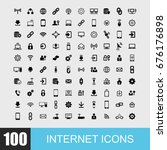 simple set of internet related... | Shutterstock .eps vector #676176898