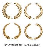 set of golden laurel wreaths... | Shutterstock .eps vector #676183684