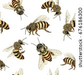 bee seamless pattern in honey... | Shutterstock .eps vector #676186300