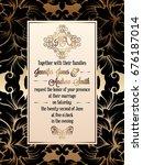 vintage baroque style wedding... | Shutterstock .eps vector #676187014
