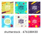 memphis style cards new design... | Shutterstock .eps vector #676188430