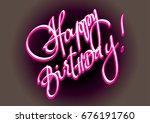 happy birthday hand lettering... | Shutterstock .eps vector #676191760
