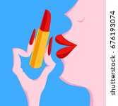 glamour girl with lipstick | Shutterstock .eps vector #676193074