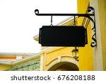 rectangular plaque hanging on... | Shutterstock . vector #676208188