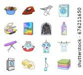 washing machine  powder  iron... | Shutterstock .eps vector #676211650