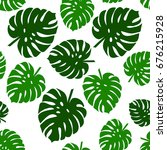 tropical palm leaves  jungle... | Shutterstock .eps vector #676215928