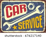 car service vintage sign with... | Shutterstock .eps vector #676217140