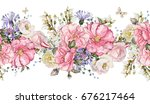 seamless pattern border with... | Shutterstock . vector #676217464