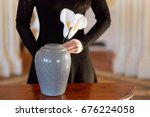 cremation  people and mourning... | Shutterstock . vector #676224058