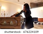 people and mourning concept  ... | Shutterstock . vector #676224109