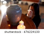 cremation  people and mourning...   Shutterstock . vector #676224133