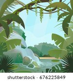 tropical jungle landscape with... | Shutterstock .eps vector #676225849