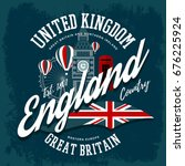 t shirt with england or britain ... | Shutterstock .eps vector #676225924