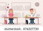 school children in classroom... | Shutterstock .eps vector #676227730