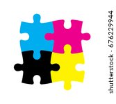 four jigsaw puzzle pieces in... | Shutterstock .eps vector #676229944