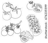 line art illustration with food.... | Shutterstock . vector #676235599
