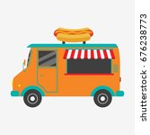 hot dog truck. fast food van...   Shutterstock .eps vector #676238773