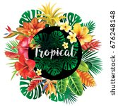 banner from tropical plants | Shutterstock .eps vector #676248148