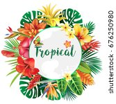 Stock vector banner from tropical and flowers 676250980