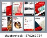 brochure design. red corporate...   Shutterstock .eps vector #676263739
