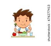child eating salad | Shutterstock .eps vector #676277413
