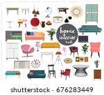 vector interior design elements.... | Shutterstock .eps vector #676283449