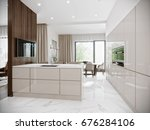 Stock photo modern urban contemporary bright large white gray beige kitchen interior design with marble floor 676284106