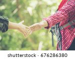 young traveler with a green... | Shutterstock . vector #676286380
