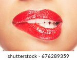 closeup of sensuous woman... | Shutterstock . vector #676289359