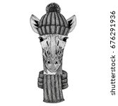 camelopard  giraffe wearing... | Shutterstock . vector #676291936