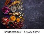 assortment of dry flower tea... | Shutterstock . vector #676295590