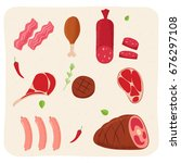 set of different kinds of meat... | Shutterstock .eps vector #676297108
