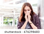 sick business woman with... | Shutterstock . vector #676298683