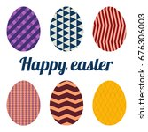 set of six eggs painted various ... | Shutterstock .eps vector #676306003