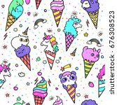 vector illustration of cute ice ...   Shutterstock .eps vector #676308523