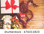 heart and gift box for... | Shutterstock . vector #676311823
