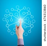 hand pressing modern social... | Shutterstock . vector #676313860