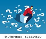 someone who is troubled by the... | Shutterstock .eps vector #676314610