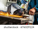 a young man welder in a working ... | Shutterstock . vector #676329124