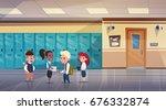 group of schoolchildren in... | Shutterstock .eps vector #676332874