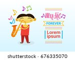 chinese boy playing saxophone... | Shutterstock .eps vector #676335070