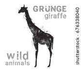 silhouette giraffe in grunge... | Shutterstock .eps vector #676338040