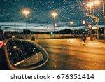 Rain Drops On Car Window With...